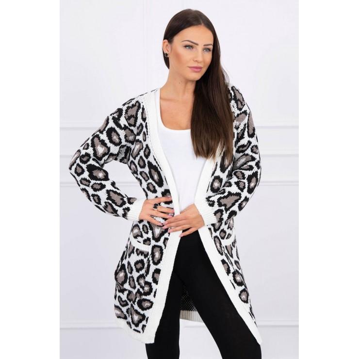 Dámsky sveter s leopardím vzorom MI2019-28 krémový