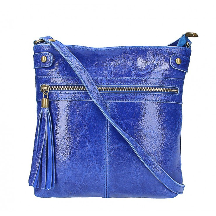 Kožená kabelka na rameno 727 azurovo modrá