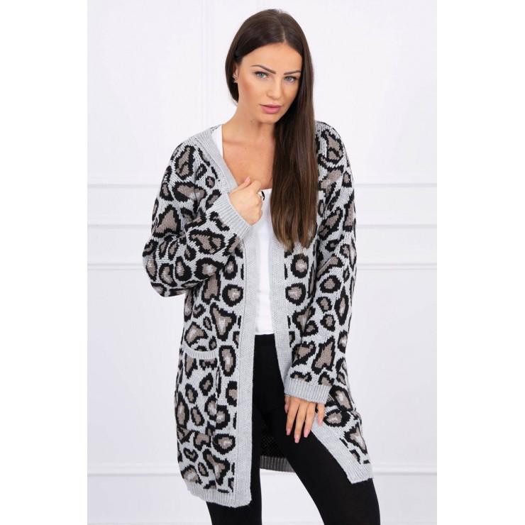 Dámský svetr s leopardím vzorem MI2019-28 šědý