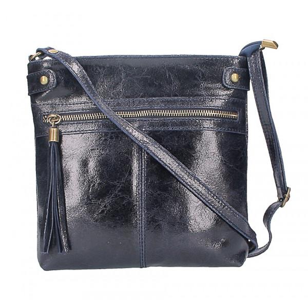 Kožená kabelka na rameno 727 tmavomodrá