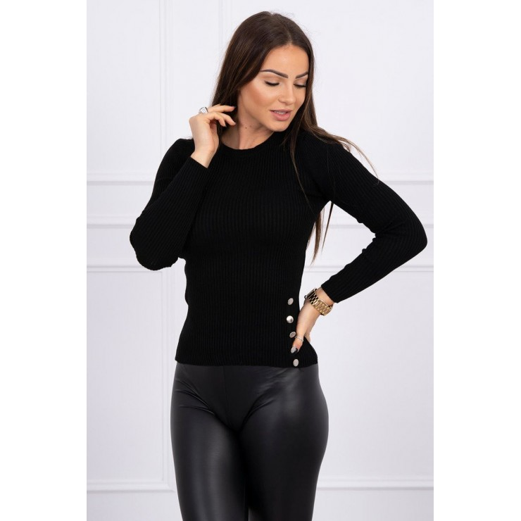 T-shirt with decorative buttons MI2019-35 black
