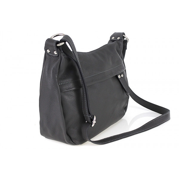 Kožená kabelka na rameno 392 tmavozelená Made in Italy Zelená