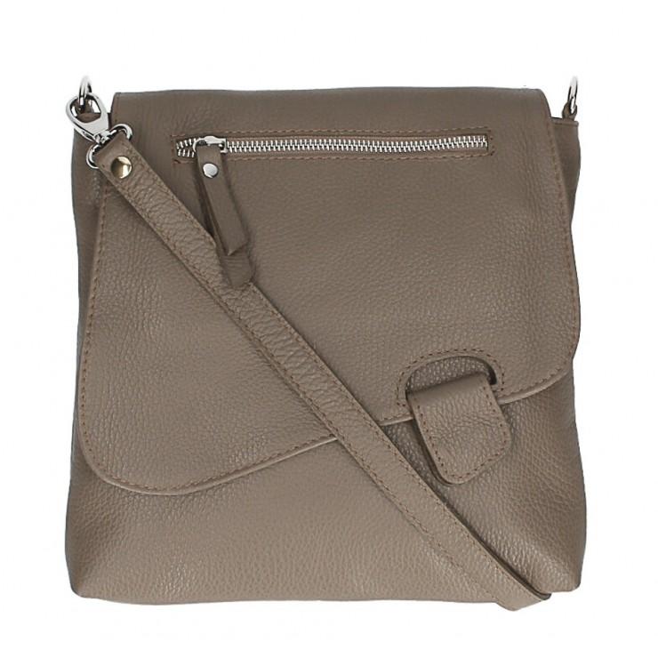Kožená kabelka na rameno 485 Made in Italy tmavá šedohnedá