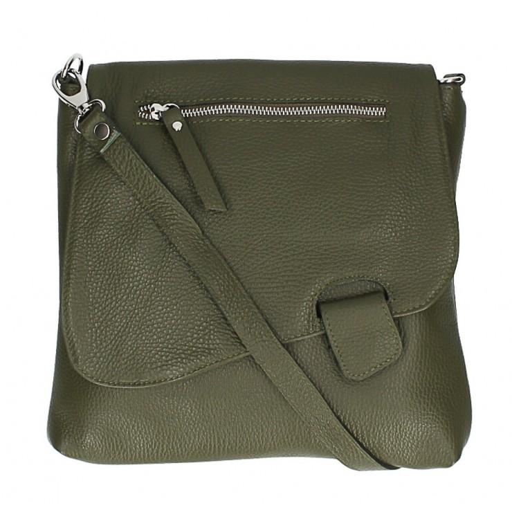 Kožená kabelka na rameno 485 Made in Italy vojenská zelená