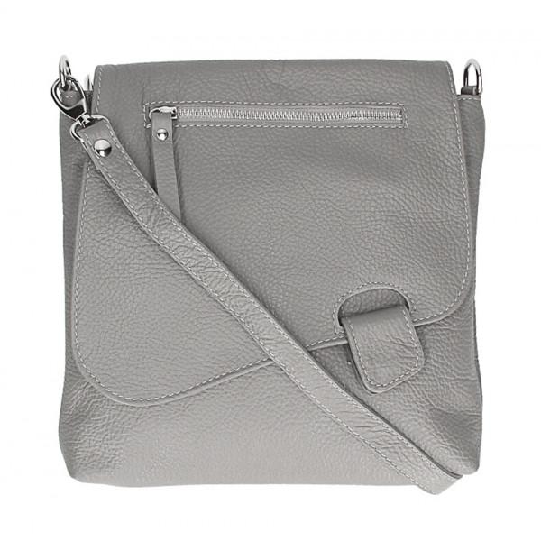 Kožená kabelka na rameno 485 Made in Italy šedá