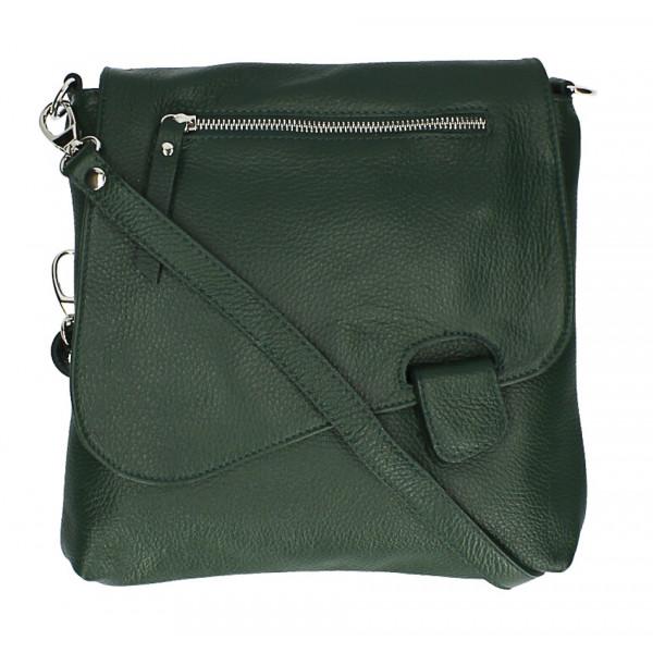 Kožená kabelka na rameno 485 Made in Italy tmavo zelená