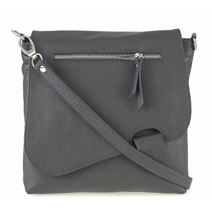 Kožená kabelka na rameno 485 Made in Italy tmavošedá