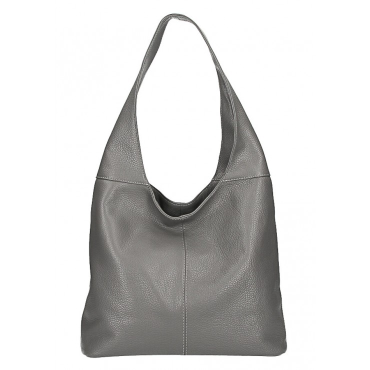 Leather shoulder bag 590 dark gray MADE IN ITALY
