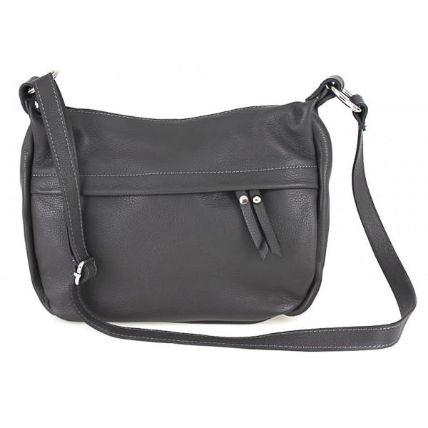 Kožená kabelka na rameno 392 tmavošedá Made in Italy