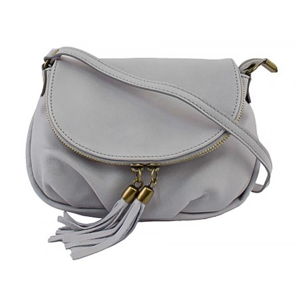 Kožená kabelka MI13A šedá