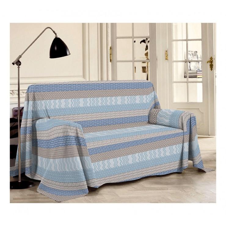 Prikrývka na gauč Azték azurovo modrá