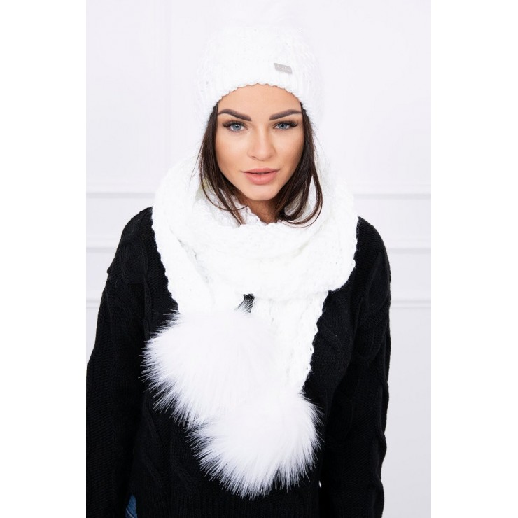 Women's Winter Set hat and scarf  MI522 white