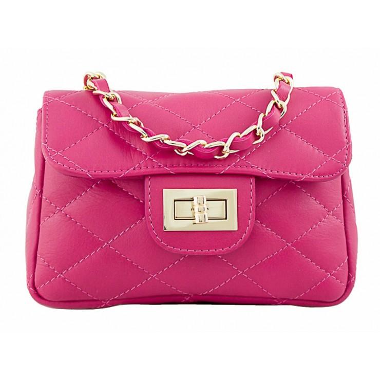 Woman Leather Handbag MI36 fuxia Made in italy