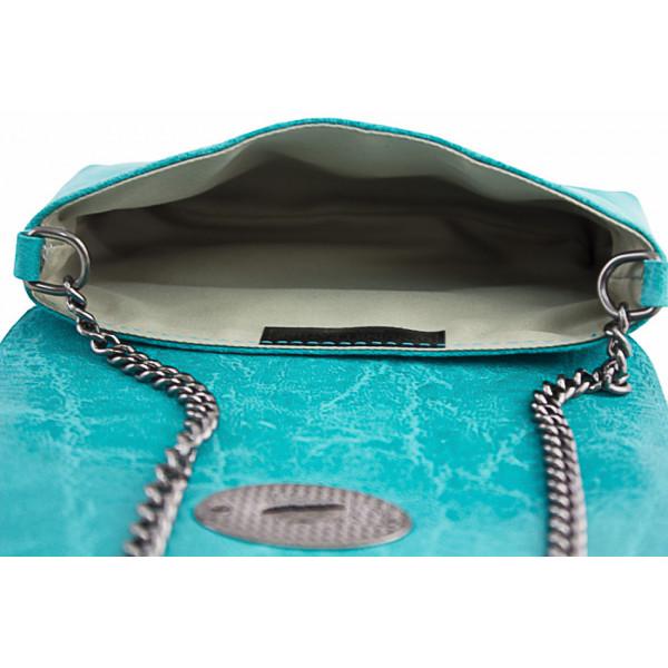 Kožená kabelka 1423 azurovo modrá Made in Italy Modrá