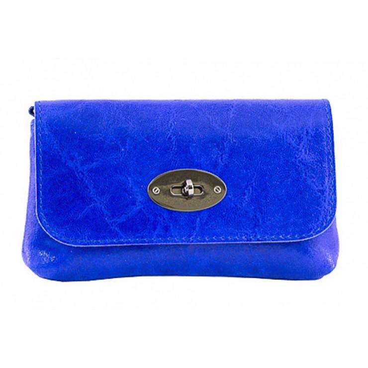 Kožená kabelka 1423 azurově modrá Made in Italy