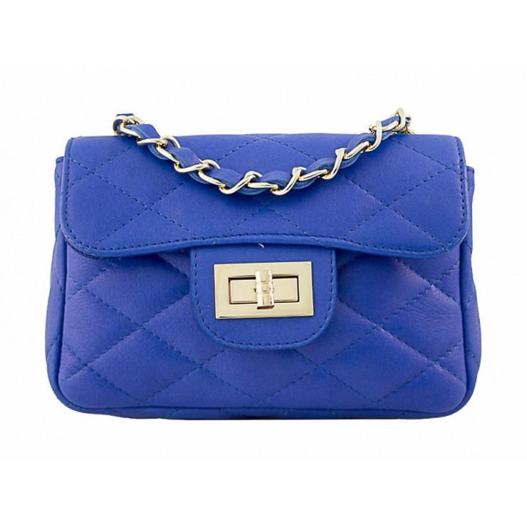 Kožená kabelka MI36 azurovo modrá Made in Italy