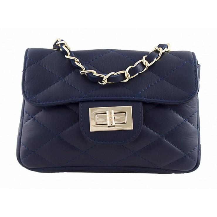 Kožená kabelka MI36 modrá Made in Italy