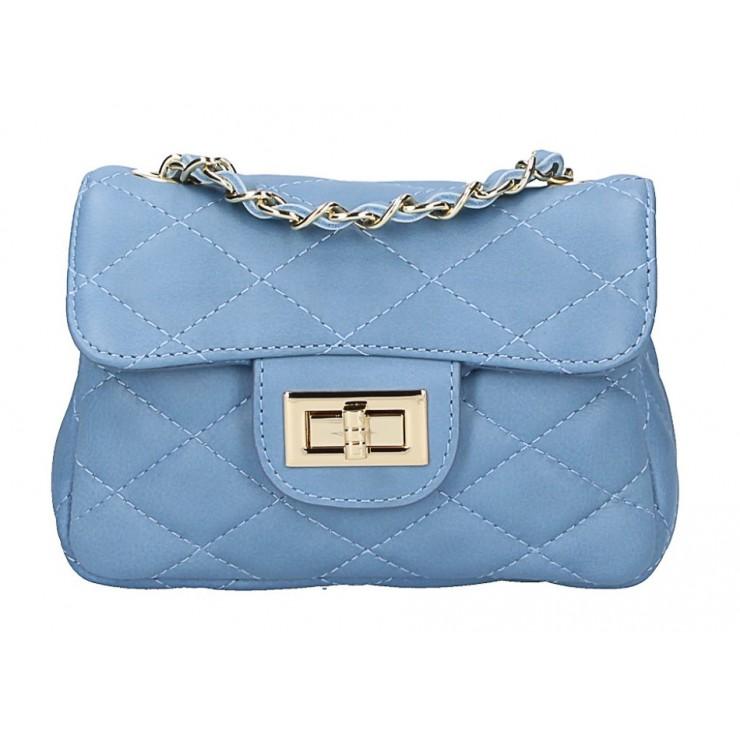 Kožená kabelka MI36 nebesky modrá Made in Italy