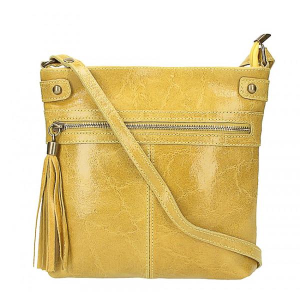 Kožená kabelka na rameno 727 žltá