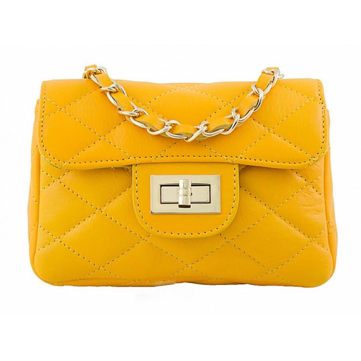 Kožená kabelka MI36 žltá Made in Italy