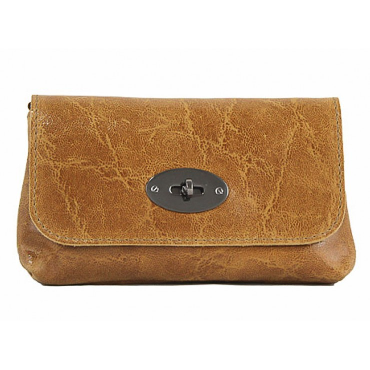 Leather Pochette 1423 cognac Made in Italy
