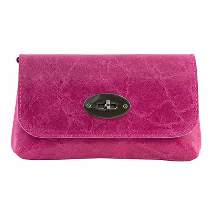 Leather Pochette 1423 fuxia Made in Italy