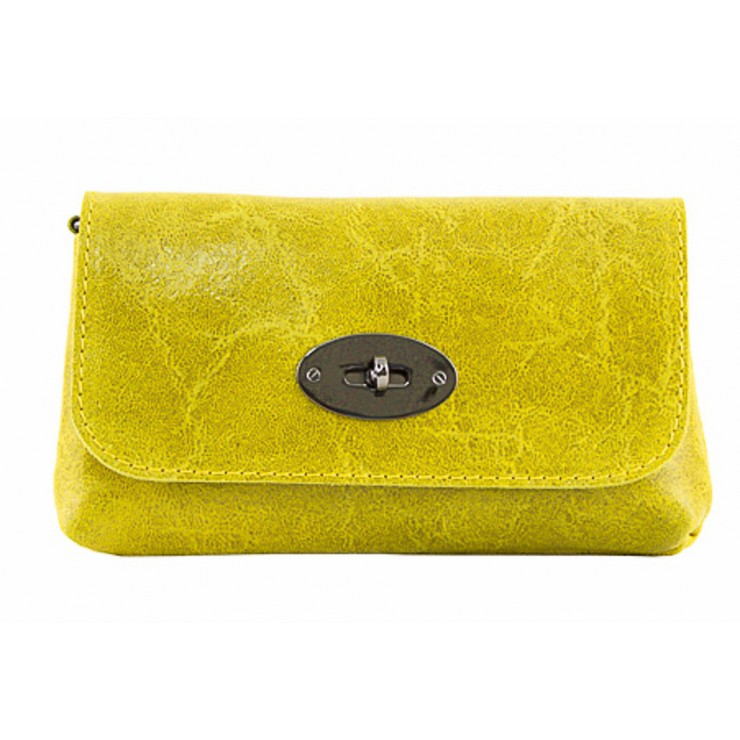 Leather Pochette 1423 yellow Made in Italy