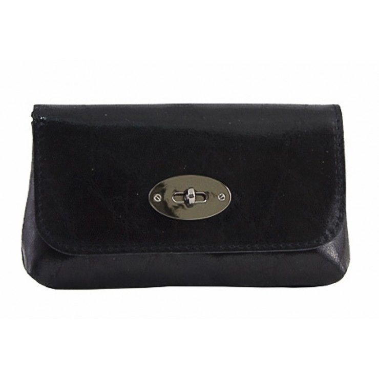 Leather Pochette 1423 black Made in Italy