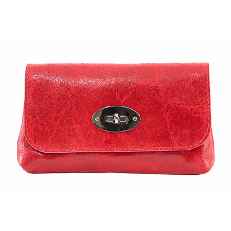 Leather Pochette 1423 red Made in Italy