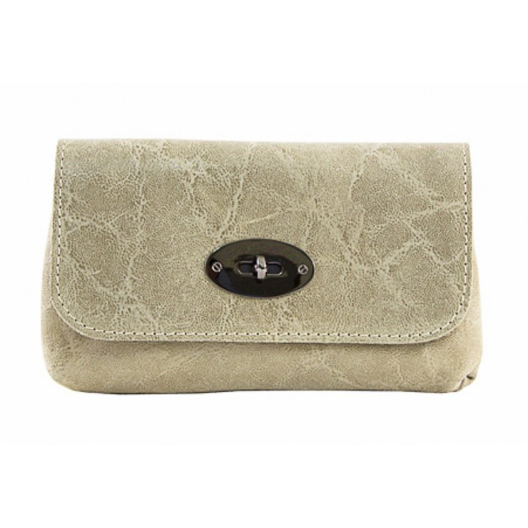 Leather Pochette 1423 taupe Made in Italy