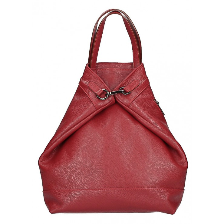 Leather backpack MI344 dark red Made in Italy
