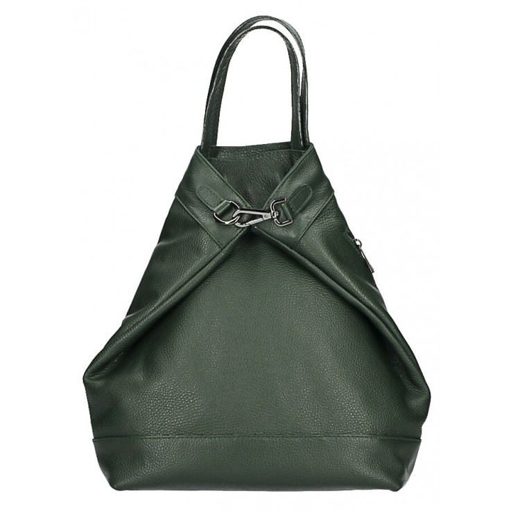 Leather backpack MI344 dark green Made in Italy
