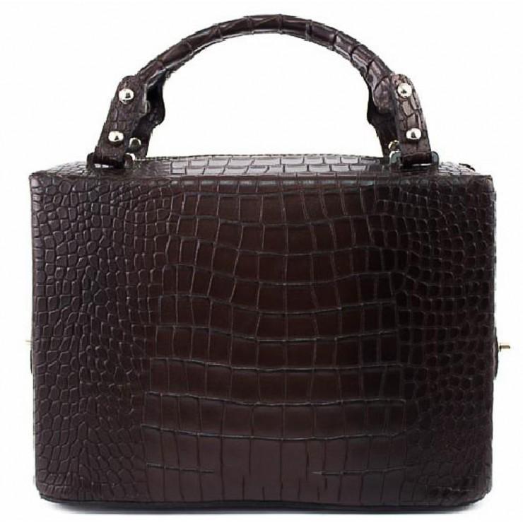 Leather handbag 436 dark brown Made in Italy