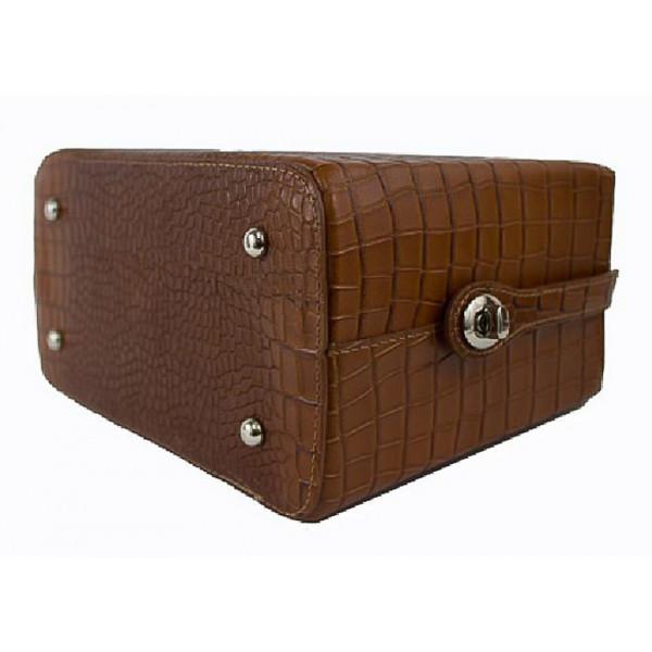 Kožená kufríková kabelka 436 tmavohnedá Made in Italy