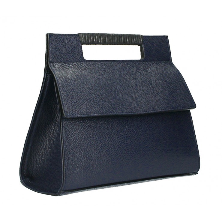 Woman Leather Handbag 348 dark blue Made in italy
