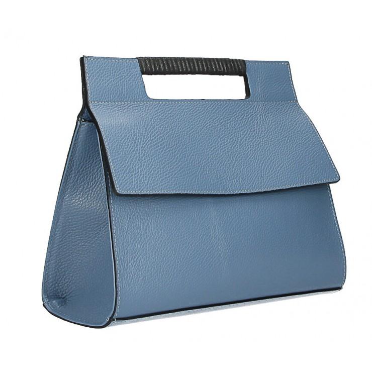 Kožená kabelka 348 nebesky modrá Made in Italy