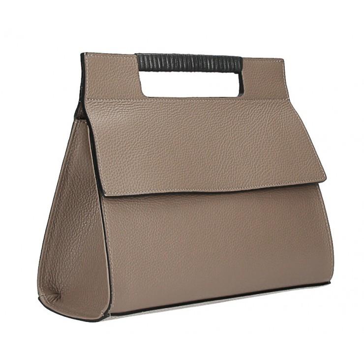 Kožená kabelka 348 tmavá šedohnedá Made in Italy