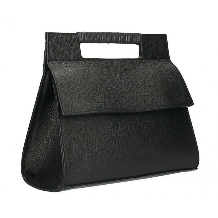 Kožená kabelka 348 čierna Made in Italy