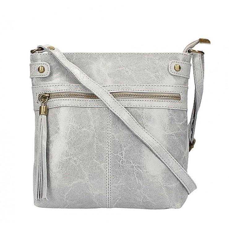 Kožená kabelka na rameno 727 šedá
