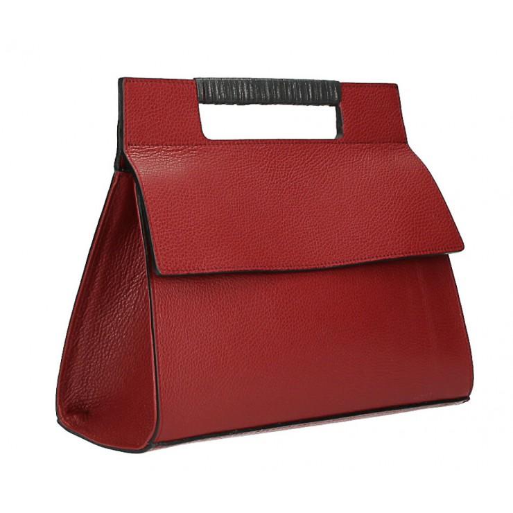 Kožená kabelka 348 červená Made in Italy