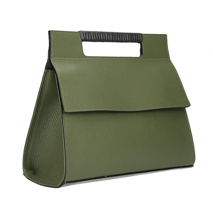 Kožená kabelka 348 vojensky zelená Made in Italy