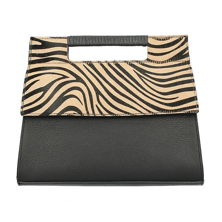 Kožená kabelka 344 tmavá zebra Made in Italy