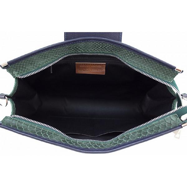 Kožená kabelka 1214A modrá  Made in Italy