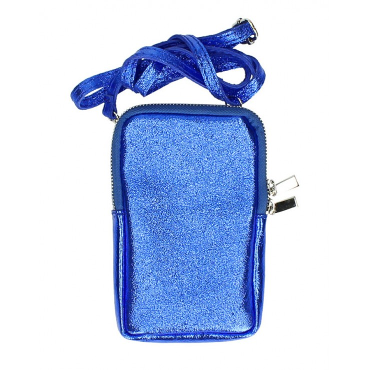 Kožené púzdro na mobil MI197 azurovo modré Made in Italy