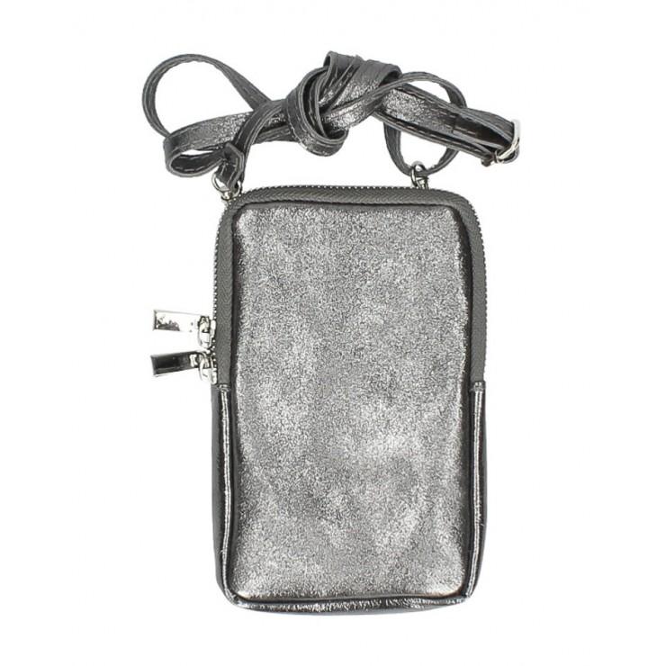 Kožené púzdro na mobil MI197 šedá metalíza Made in Italy