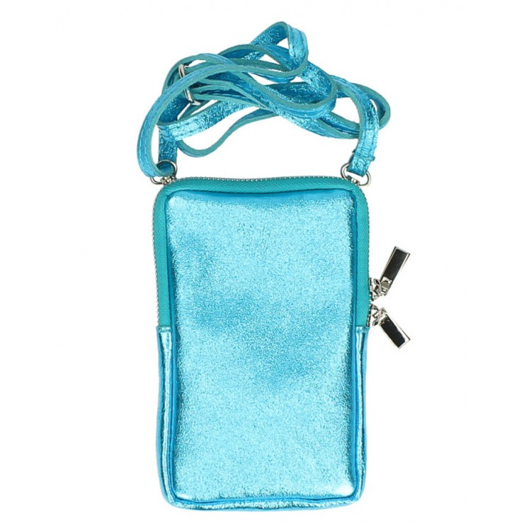 Leather strap pocket for MobileMI197 light blue Made in Italy