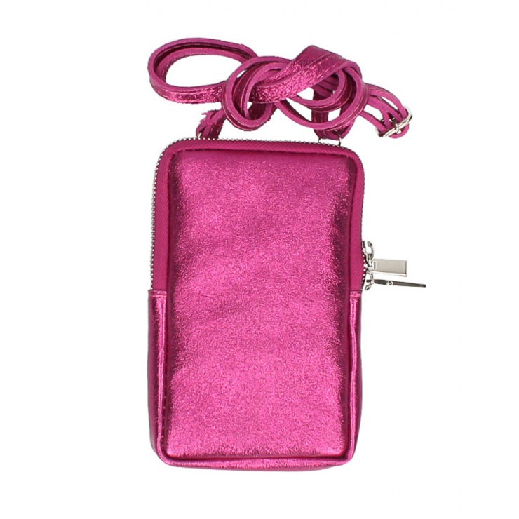 Leather strap pocket for MobileMI197 fuxia Made in Italy