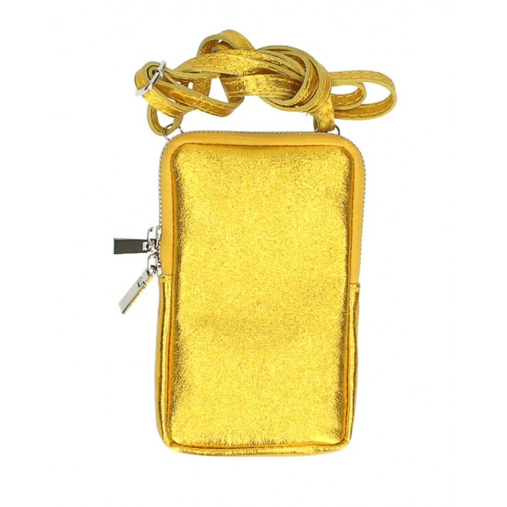 Leather strap pocket for MobileMI197 yellow Made in Italy