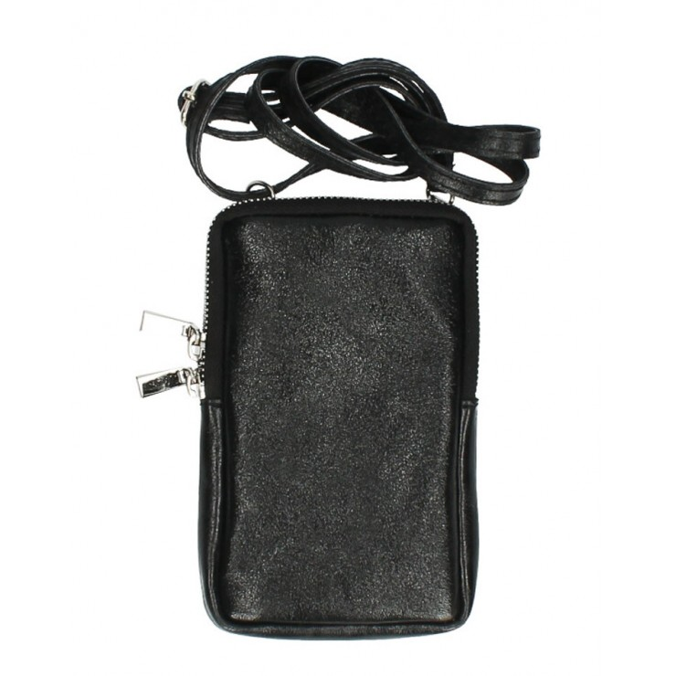 Leather strap pocket for MobileMI197 black Made in Italy
