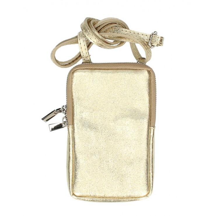 Kožené púzdro na mobil MI197 zlaté Made in Italy